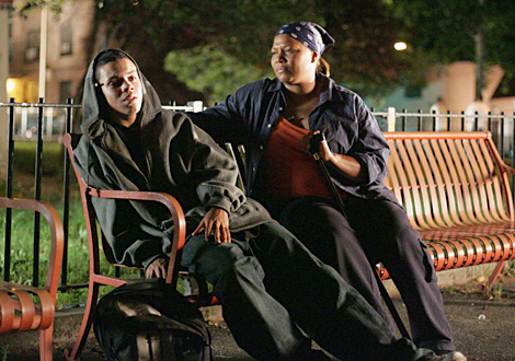 Evan Ross as Amare (right) and Queen Latifah as Ana Walace.