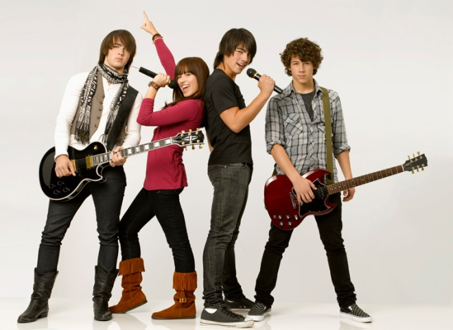 The cast: Demi Lovato and the Jonas Brothers