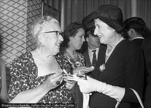 England's Agatha Christie (left) meets New Zealand's Ngaio Marsh in 1960 at the Savoy Hotel in London, England. Photo courtesy of Encarta Encyclopedia Hulton-Deutsch Collection/Corbis. Microsoft® Encarta® Reference Library 2003. © 1993-2002 Microsoft Corporation. All rights reserved.